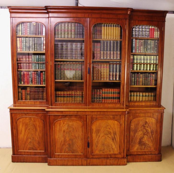Viktorianische Mahagoni Bücherfront antik ca1850