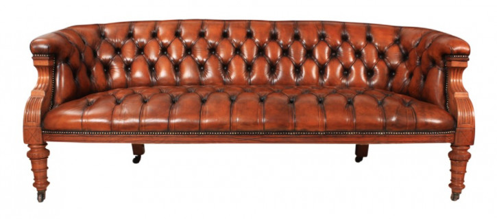 Viktorianisches Chesterfield-Ledersofa