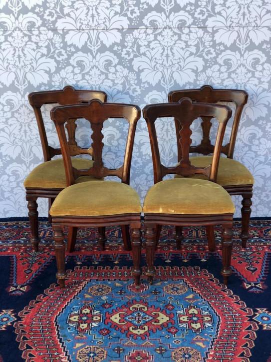 Satz von vier viktorianischen Esszimmerstühlen