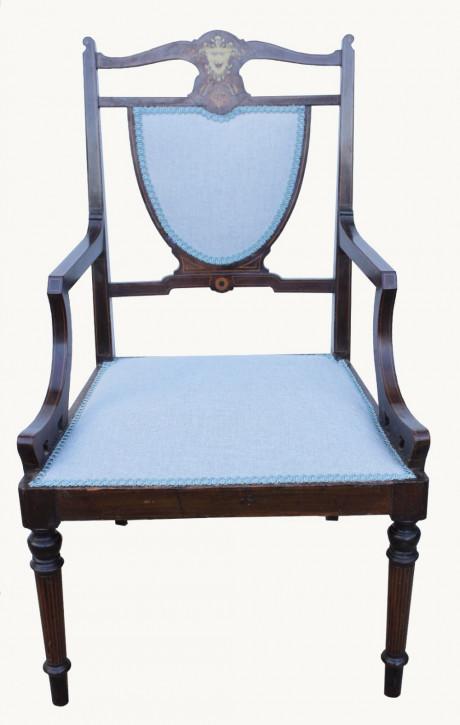 Hochwertiger viktorianischer Sessel mit Intarsien