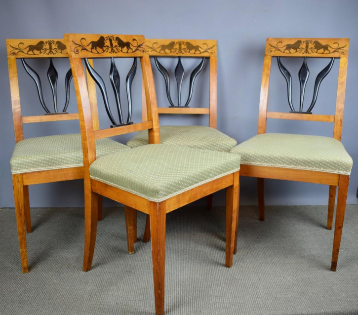 Vierer-Set Biedermeierstühle aus Satinholz