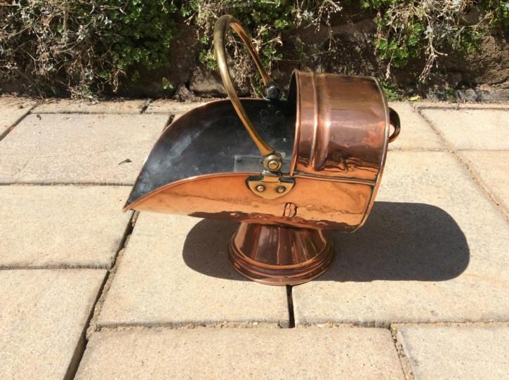 Kohle Transport Behälter Copper coal scuttle aus Kupfer antik ca. 19. Jahrhundert