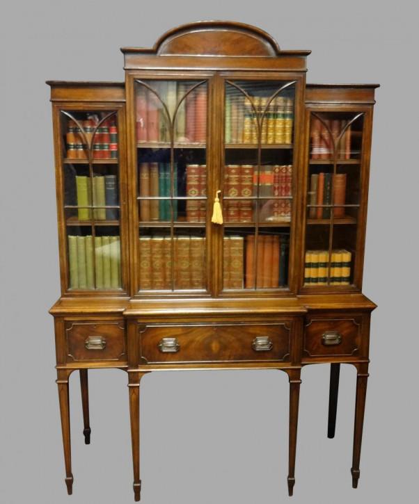 Georgian Mahagoni breakfront Bücherregal