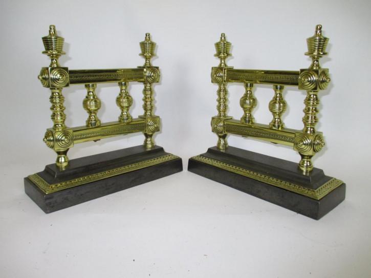 Paar fire tool rests Feuerwerkzeug aus Messing und Eisen antik ca. 1890