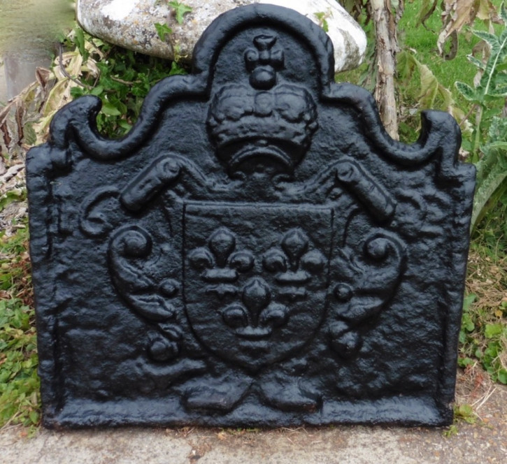 Kaminrücken, iron fire back, französisch antik aus Gusseisen, ca. 1622