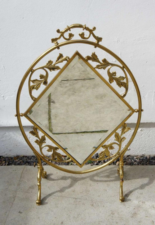Mirrored brass Feuerschirm Kaminschirm mit Spiegel Messing antik ca. 1910-1920