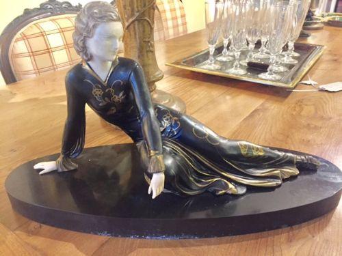 Französische Figur Antik Original Menneville Art Deco Frau ca. 1930