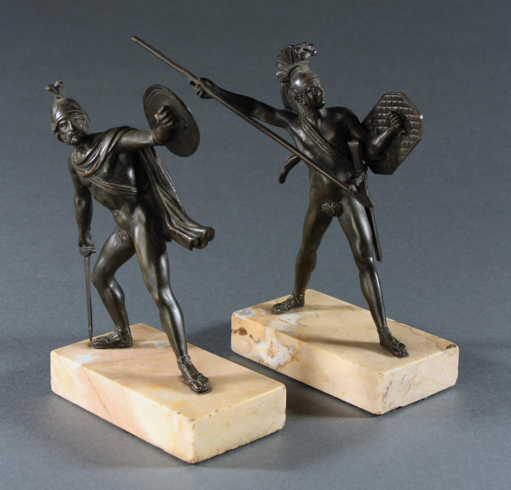 Französisch Paar Krieger Bronze Skulptur Figur Antik Romanus und Titus Tatius nach Gemälde von Jaques-Louis David's, ca. 1850