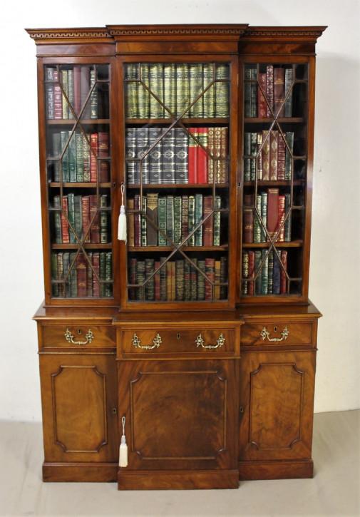 Mahagoni Massivholz Bücherregal antik breakfront englisch edwardianisch