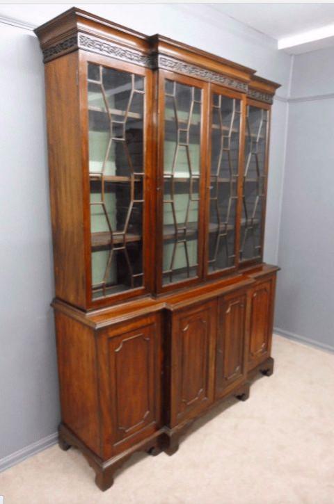 Cottage Bibliothek, Breakfront-Bücherregal, Mahagoni, antik, viktorianisch