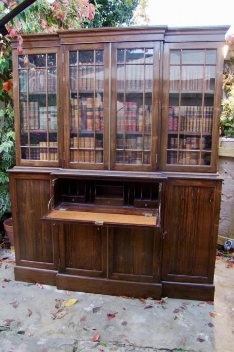 Bücherschrank, Breakfront-Sekretär, Palisander, 19. Jahrhundert, antik