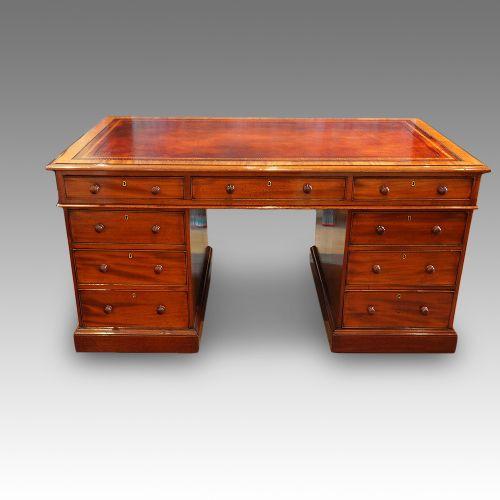 antiker Partners Schreibtisch, Mahagoni , viktorianisch