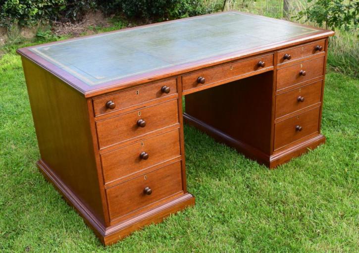 Schreibtisch partners desk antik Teakholz Massivholz viktorianisch