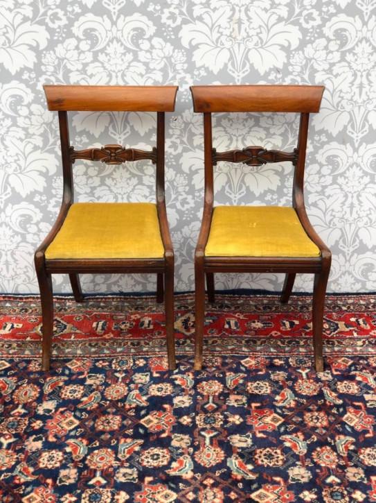 2er Satz originaler antiker Mahagoni Stühle Hall Chairs viktorianisch