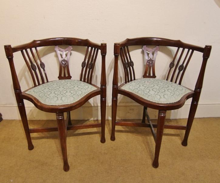 2er Satz antiker edwardianischer Arts and Craft Mahagoni Beistellstühle Occasional Chairs ca 1890