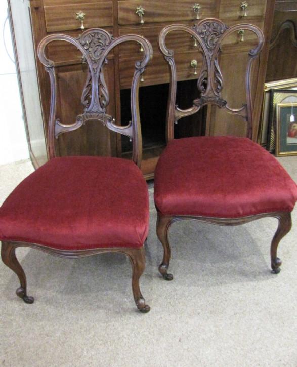 2er Satz antiker schöner Schlafzimmer Stühle Bedroom Chairs aus Nussbaum viktorianisch ca 19. Jh