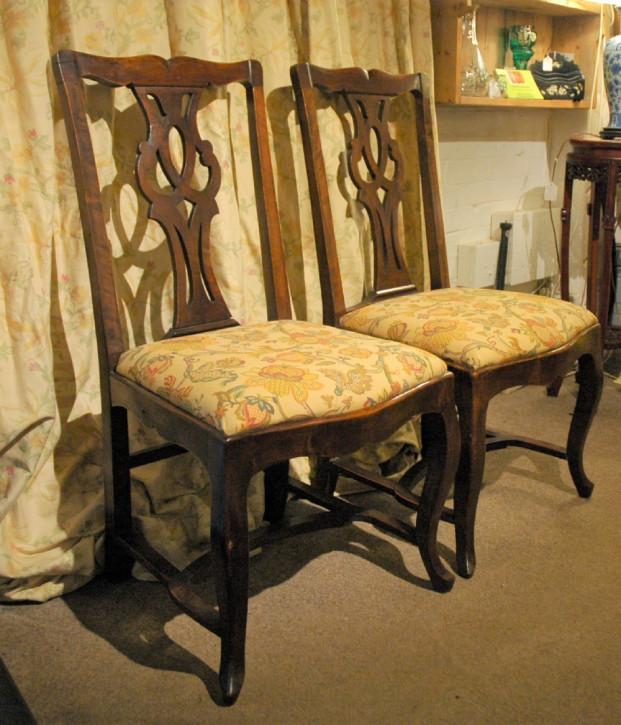 2er Satz antiker Mahagoni Stühle im georgianischen Stil ca 1840