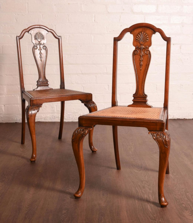 Paar antiker Stühle Hall Chairs aus Mahagoni, Queen Anne Stil, ca 1920