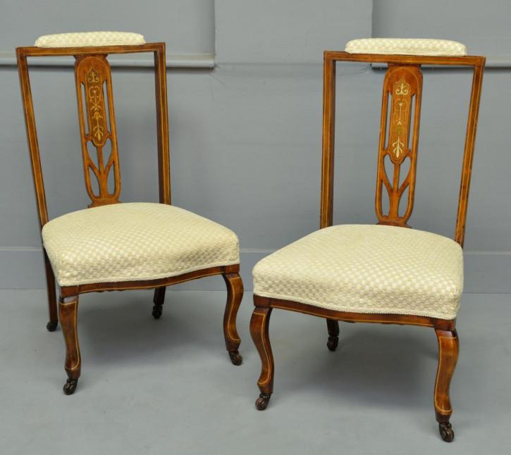 2er Satz antiker edwardianischer Mahagoni Stillstühle Nursing Chairs ca 1900