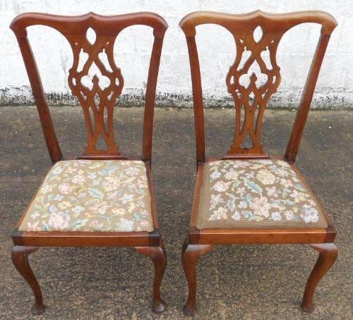 2er Satz antiker Mahagoni Chippendale Esszimmerstühle Dining Chairs im georgianischen Stil ca 1900