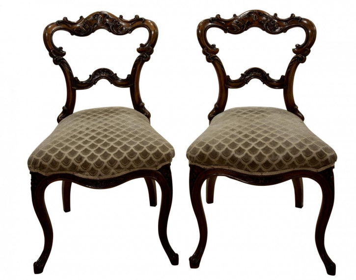 Paar antiker Beistellstühle Side Chairs aus Nussbaum ca 1860