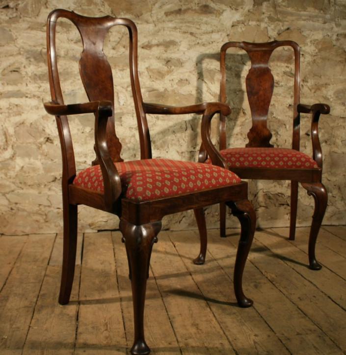2er Satz antiker Nussbaum Stühle Armchairs im georgianischen Stil ca 1900