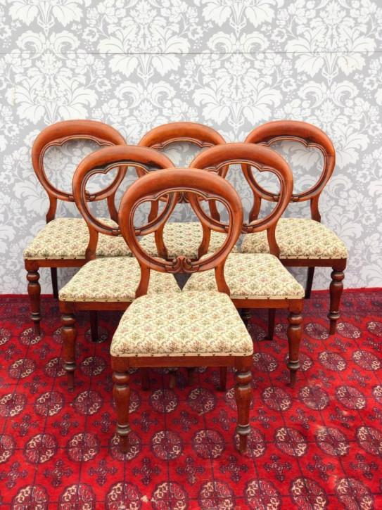 """Satz von 6 viktorianischen """"Ballon back"""" Esszimmerstühlen"""