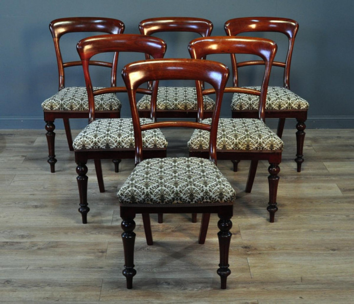 6er-Set aus sechs antiken Mahagoni Küchenstühlen viktorianisch