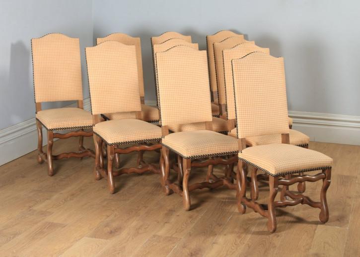 Antikes 10er-Set aus gepolsterten Esszimmerstühlen mit hoher Rückenlehne