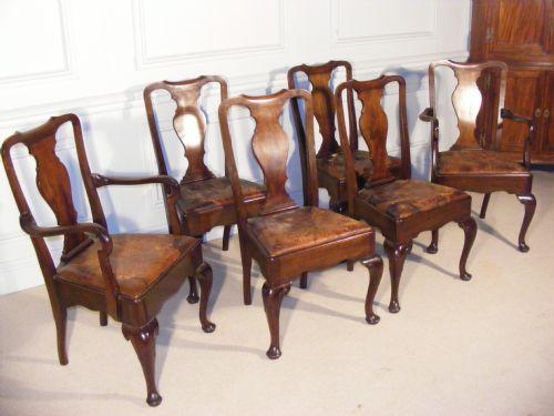 Set mit 10 Queen-Anne-Stühlen aus Mahagoni