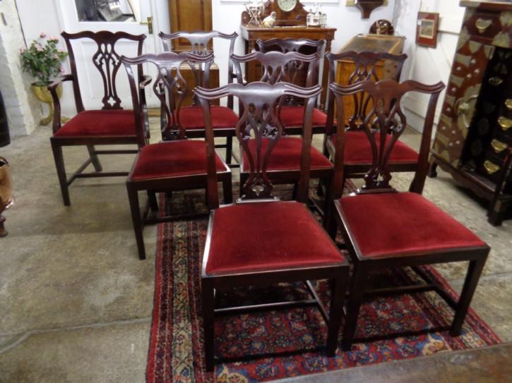 Antikes Set aus acht Stühlen im edwardianischen Mahagoni-Landhausstil