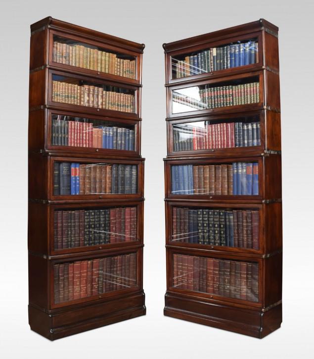 Antiker britischer Globe Wernicke 2 Türmen Bücherschrank Mahagoni viktorianisch ca 1900
