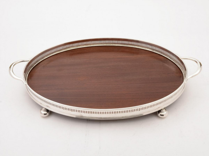 Antikes versilbertes Mahagoni Tablett silver plated and mahogany tray edwardianisch ca 1905