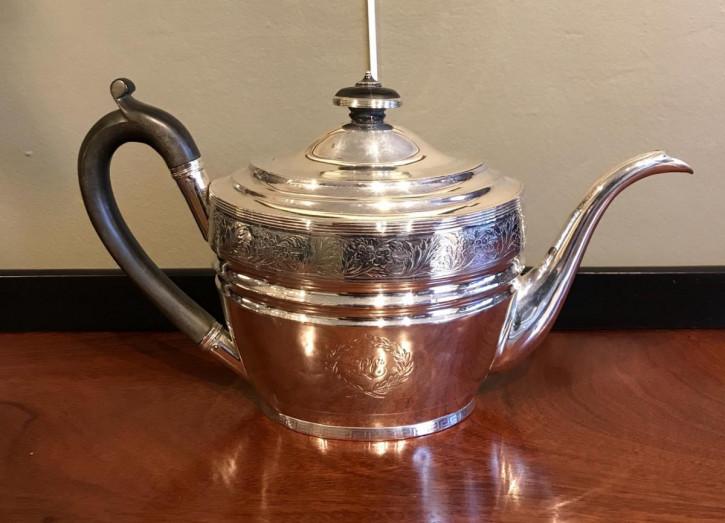 schottische  Teekanne, Silber Edinburgh 1802 georgischer Stil