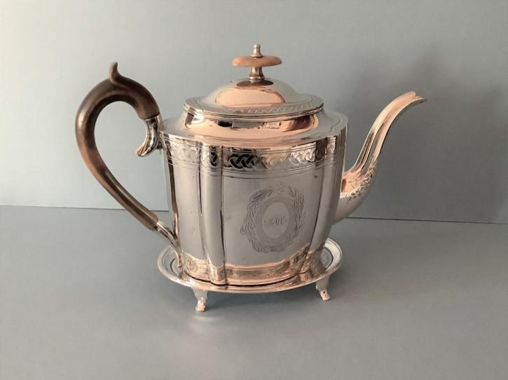 Antike georgische silberne Teekanne mit Ständer 1798