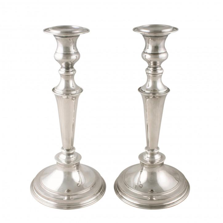 Paar antiker edwardian versilberte Kerzenhalter
