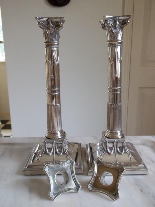 Paar viktorianische versilberte Kerzenleuchter