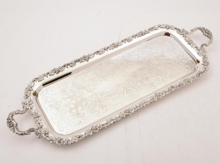 Antikes versilbertes Tablett Serving Tray, länglich, ca 1920