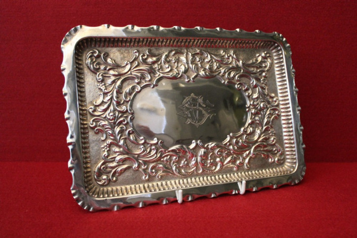 Antikes englisches Sterling Silber Tablett Silver Tray, Jay Richard Attenborough & Co., Chester, edwardianisch von 1902