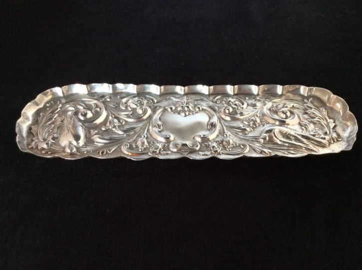 Antikes englisches Silber Frisiertisch Tablett / Silver Pin Tray, Comyns, 1900