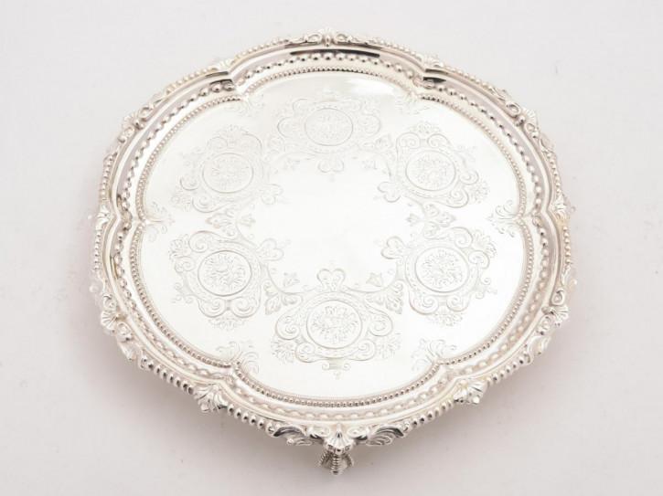 Antikes englisches versilbertes Tablett / Silver Plated Tray, viktorianisch, ca 1890