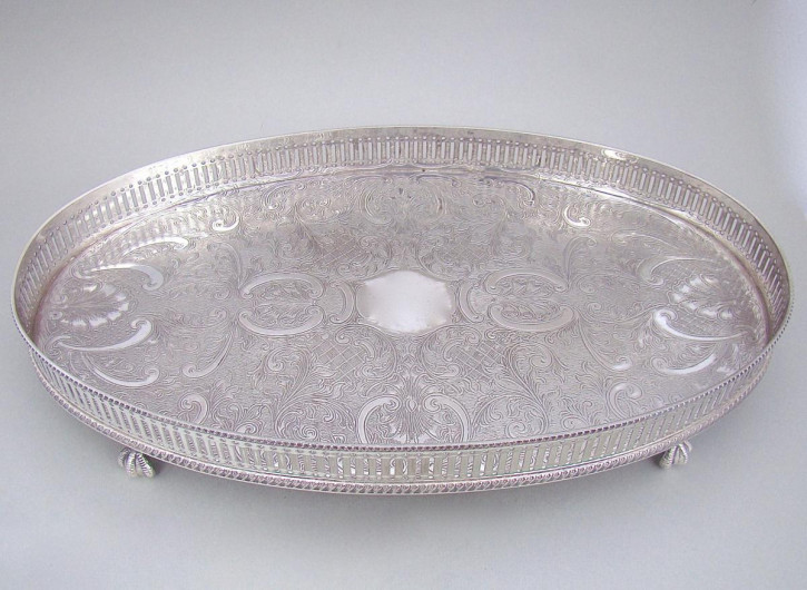 Antikes versilbertes Tablett / Silver Plated Drinks Tray, edwardianisch ca 1910