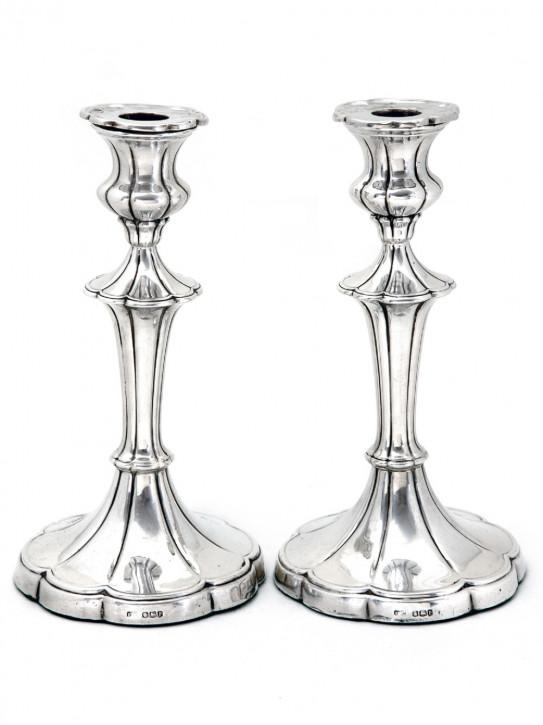 Antikes englisches Paar Silber Kerzenleuchter / Candlesticks, 1932