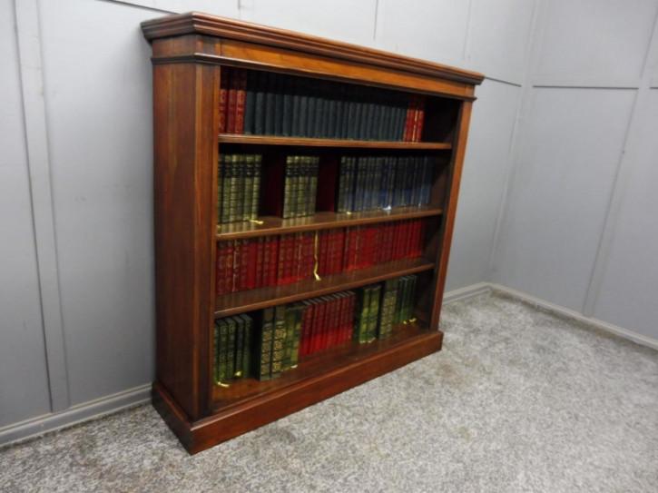 Antikes viktorianisches Open Bookcase / offenes Bücherregal aus Nussbaum, ca 1890