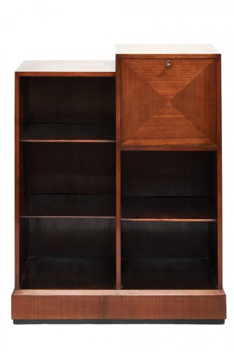 Offenes Bücherregal aus Mahagoni im Art-Deco-Stil mit Sekretär