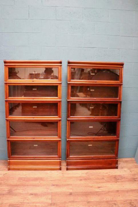 Passendes Paar Globe Wernicke Stapelbücherschränke antik