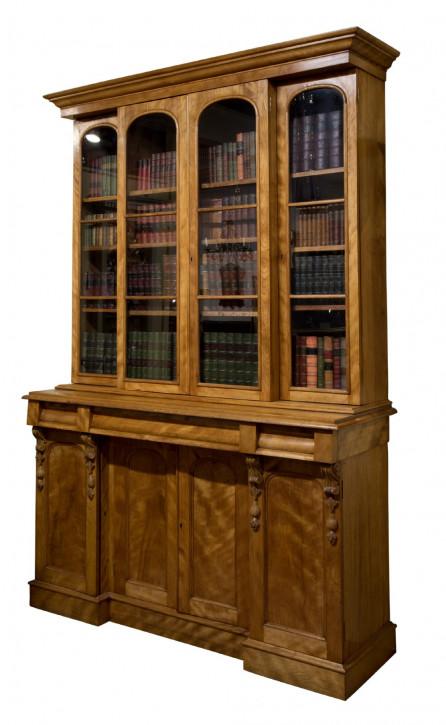 antikes Bücherschrank satinierte Birke aus dem 19. Jahrhundert