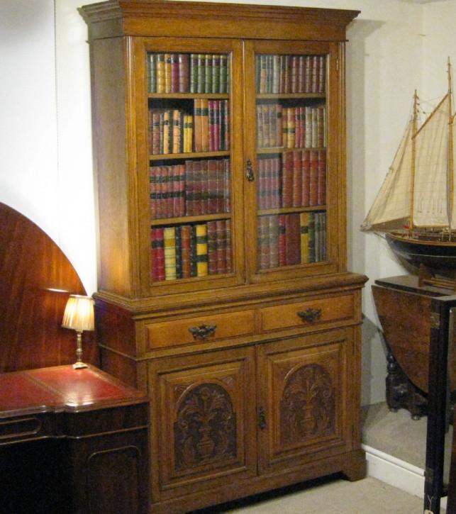 edwardian Bücherschrank / Vitrine aus massiver und Eiche (golden oak) antik