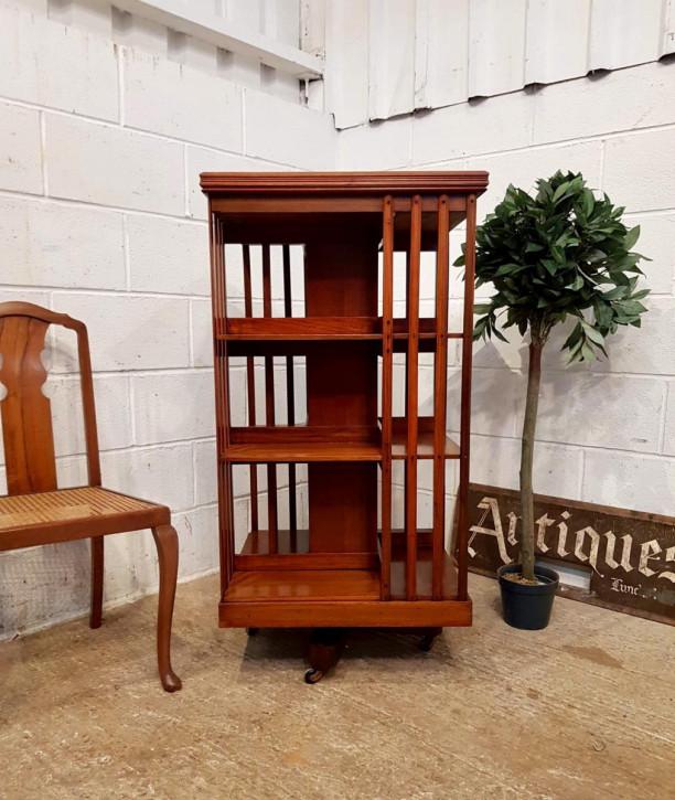 Antiker großer Bücherschrank aus Nussbaum um 1900 edwardianisch