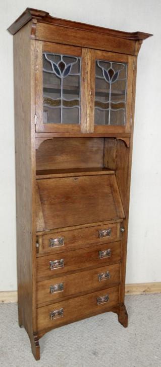 Schmaler Arts & Crafts Bücherschrank aus Eichenholz massiv
